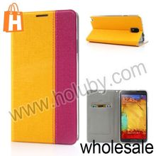 Double Color Liene Grain Wallet Flip Stand Leather Case for Samsung Galaxy Note 3 N9000 N9002 N9005 with Card Slots