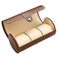 Zenper Brown Cylindrical Roll Leather Watch Box 3 Grid Slots Storage Bag Watch Travel Case