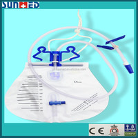 Luxury urine drainage bag with universal double hanger & anti-flux drip chamber