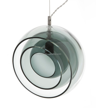 Multilayer semi-circle glass shade blowing hanging pendant lighting for shop