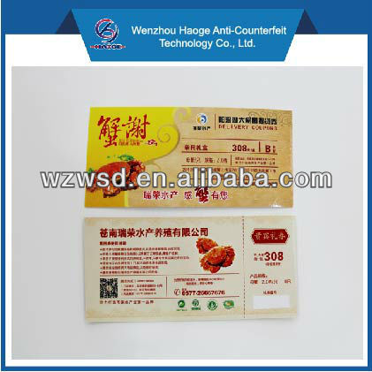 Coloring Voucher Tickect Print /Offset Printing Voucher