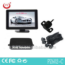 4.3inch rearview mirror radar detector with reverse camera and 4 waterproof sensors