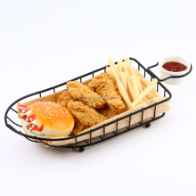 Black Metal Bread Basket Snack Basket with condiment holder stand and white ceramic sauce cup-wholesale F0070