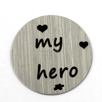 Wholesale 22mm Silver MY HERO Letters Stainless Steel Floating Charm Locket Plate