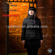 2015 Women Black Short Warm Winter Uncapped Goose Down Jackets with Belt and Popular Collar