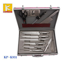 high end aluminium case 13pcs stainless steel kitchen knife and scissor set