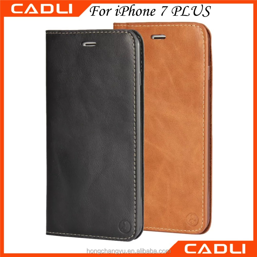 For iPhone 7 Plus Quality Soft Silicon Leather Wallet Flip Mobile Phone Case with card slot