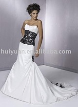 scoop neck long train white black lace wedding dress