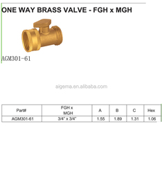 One Way Brass Valve -FGH x MGH Garden Hose Pipe Fittings