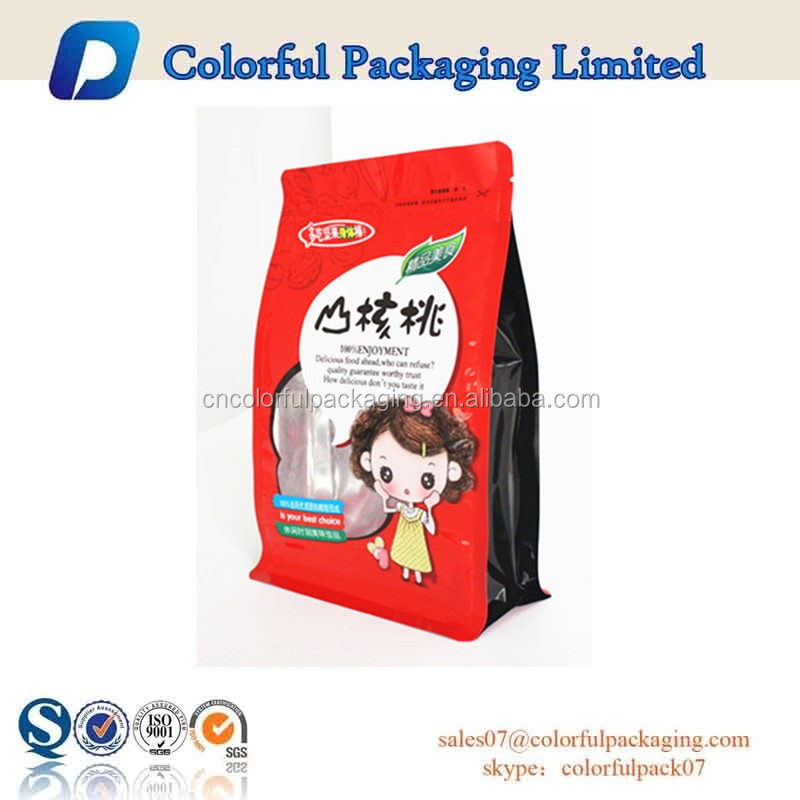 2016 OEM resealable laminated flat square block bottom tea foil packaging pouch/tea bag