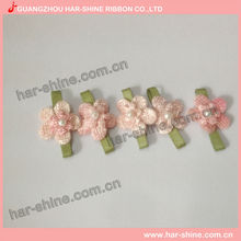 Hot Sale Mini Ribbon Handmade Rose Flower with green leaf decorating
