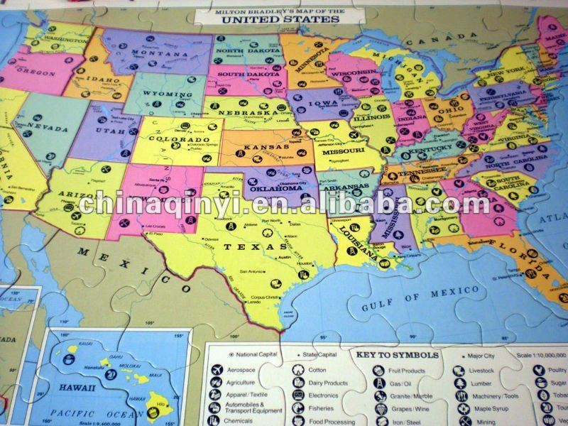 United States jigsaw puzzle map paper map jigsaw puzzle