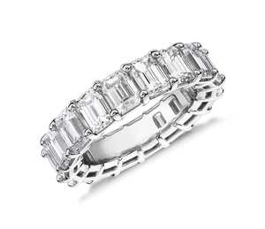 2019 New 925 Sterling Silver Emerald Cut Diamond Eternity Ring