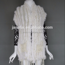 Factory Wholesale Knitted Rabbit Fur Vest / Tassels Design Fur Gilet /Waistcoat With Pocket
