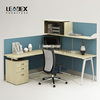 multiple functional modern modular workstations with overhead cabinet and bookshelf