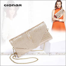 High Quality Lady Genuine Real Crocodile Embossed Wholesale Leather Magazine Clear Clutch Bag