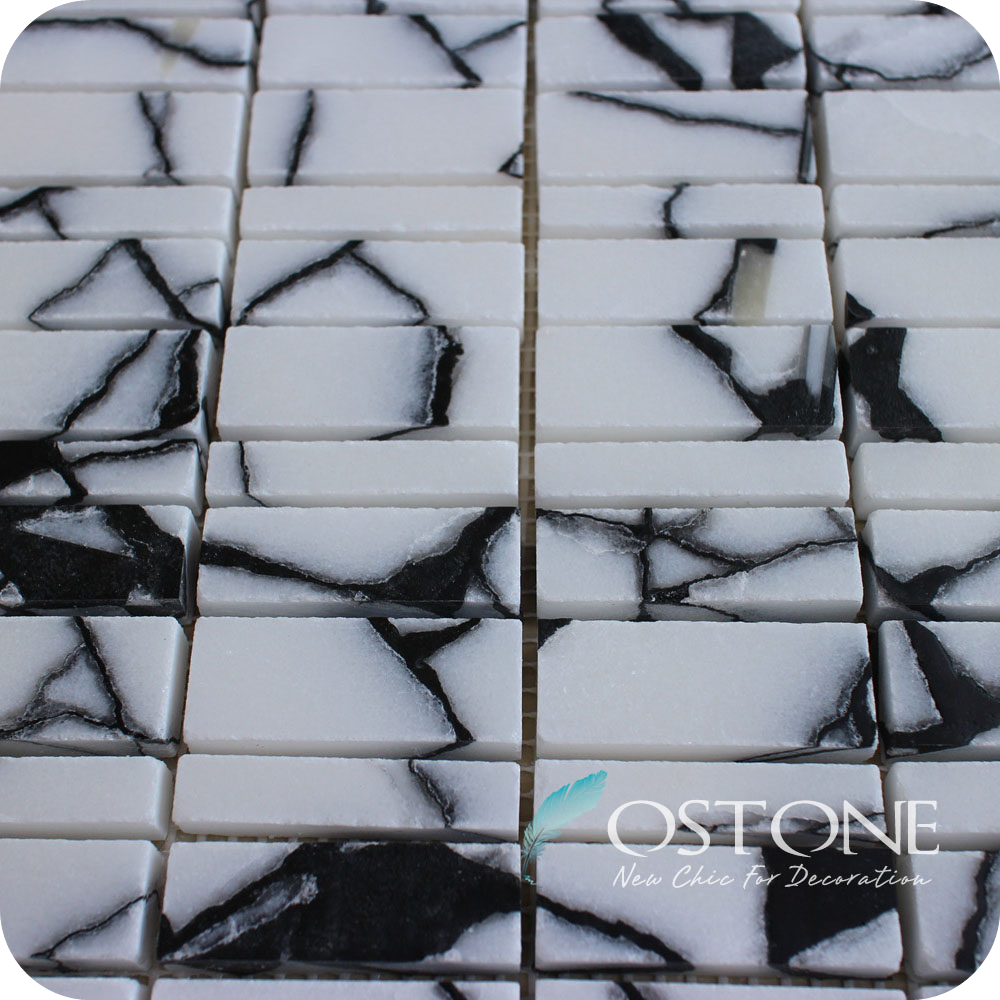Interior Decoration Black Ice Crack Marble Mosaic Pictures
