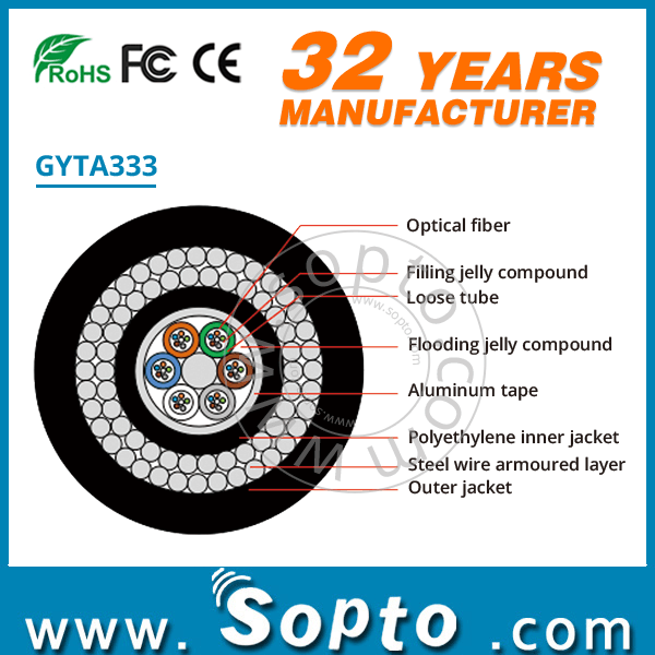 GYTA333 Aluminum and Double Steel Wire Armoring Fibre Optic Cable for Offshore Water Bottom and Climbing