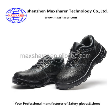 High quality black steel&leather steel toe safety shoes