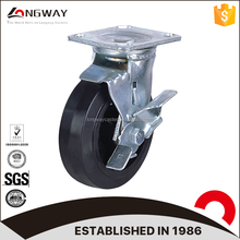 100mm 125mm 150mm 200mm rubber mold on cast iron wheel swivel caster with side mount locking