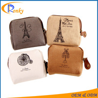 Trendy paris pocket coin holder mini latest design ladies purse key rings fobs