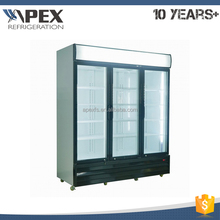Custom triple door beverage cold display refrigerators vertical showcase with LED light