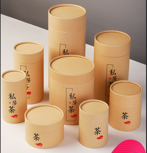 Customized color printed hard cardboard eco-friendly round kraft paper packaging <strong>tube</strong> for tea and candy