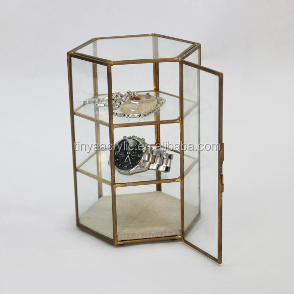 Brass Rim 3-Tier Acrylic Jewellery Bracelet Bangle Watch Display Showcase Organizer,Clear Glass Jewelry Display Case Wholesale