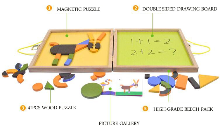 children toys new design Multifunctional magnetic wooden toy puzzle