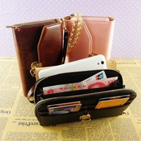 Universal pu leather phone wallet case for samsung S6 Edge with zipper money pocket wholesale