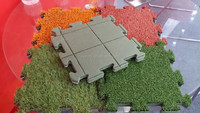 Most Popular Indoor Interlocking Tile Puzzle , Artificial Grass Turf Padded Tiles Used For Golf Course