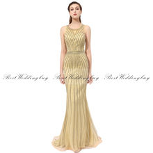 2017 Best Selling Scoop Necklline Beaded Evening Dress Formal Evening Dresses LX353