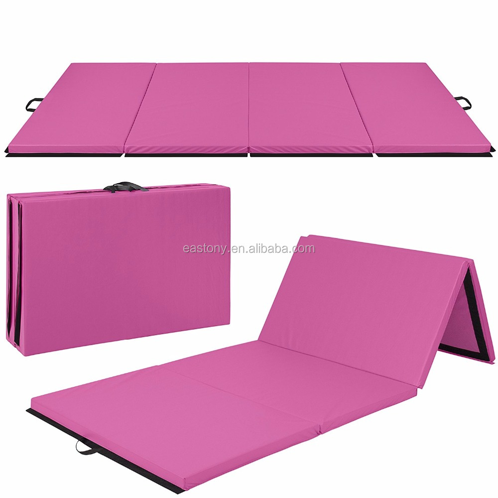 "EASTONY 4'x10'x2"" Gymnastics Gym Folding Exercise Mats Black Stretching Yoga Mat"