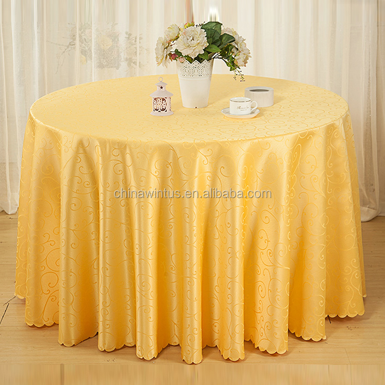 "Fancy Jacquard 108"" table cloths round in Royal yellow, European style round Jacquard tablecloth"
