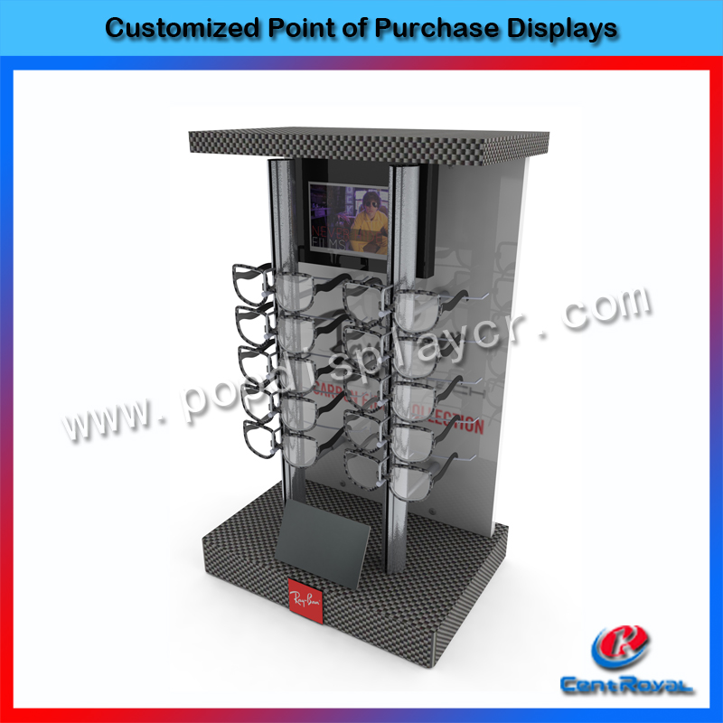 Cool shopping mall high end metal wall mount sunglasses displays