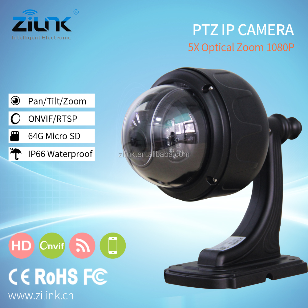 1080p 5x Auto focus zoom p2p security wifi ip camera, CCTV dome wifi wireless night view ir ptz outdoor ip camera Black
