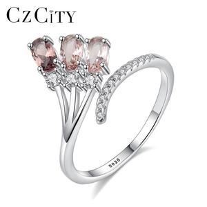 CZCITY Fashion Adjustable 925 Sterling Silver Ring With Multicolour Gemstone