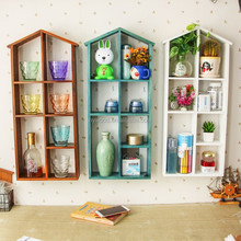 modern decorative wall hanging mounted wood shelves degign home house shape wooden wall shelf with dividers hooks for storage