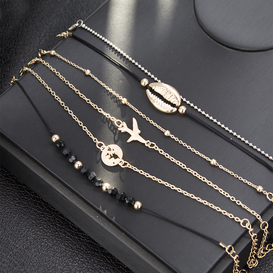Trendy Gold Plated Chain Map Shell Airplane Bracelet Black Beads Ball Charm Jewelry Chain Bracelet Set For Women