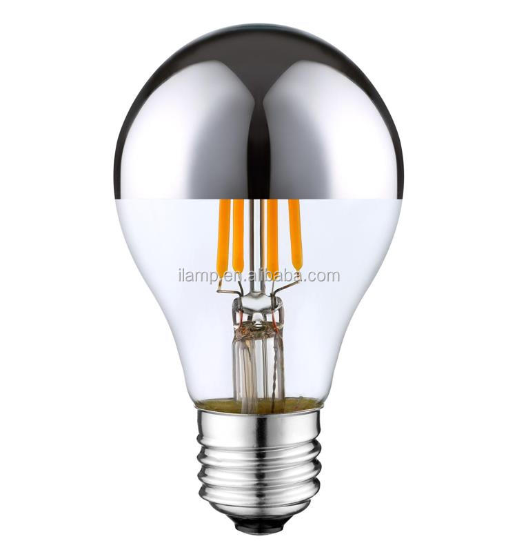 120v A19 half chrome led filament <strong>bulb</strong>, 230v a60 silver top dimmable filament led light <strong>bulb</strong>,ul ce rohs erp led filament lamp