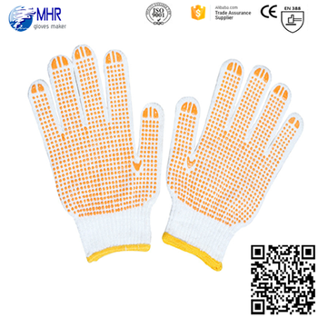 PVC dotted cotton gloves,bleached white PVC dotted hand gloves manufacturers in china