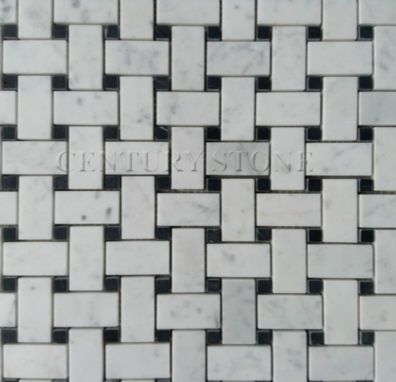 White Carrara Marble Italian Bianco Carrara Basketweave Mosaic Tile with Nero Marquina Black Dots Polished