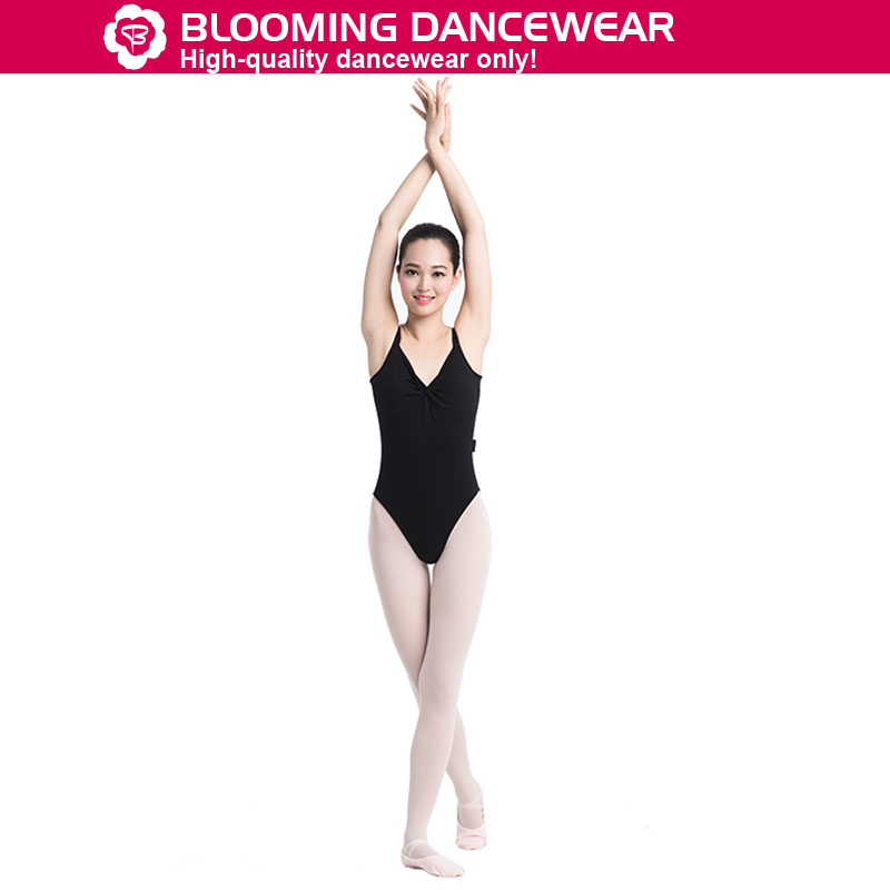 Adult ballet camisole leotard with pinch front and low back