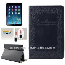 Embossing Decorative Pattern stand leather flip case for ipad air/ipad 5 with Credit Card Slots & Mirror, for ipad5 air case