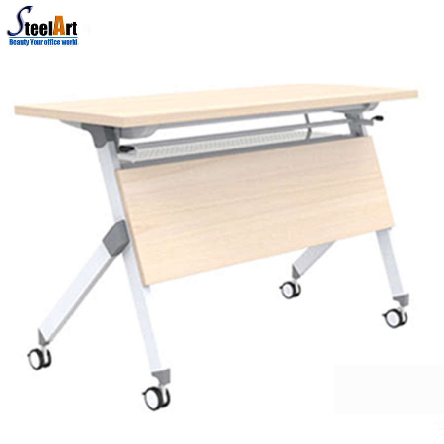 Light duty office folding table with mobile legs design