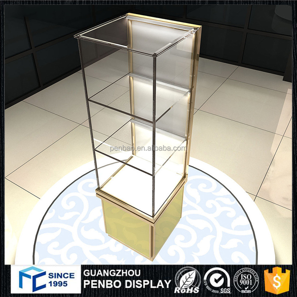 Customized fashion wood glass modern stand jewellery display showcase