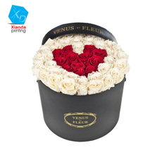 luxury round flower box packging for fresh rose