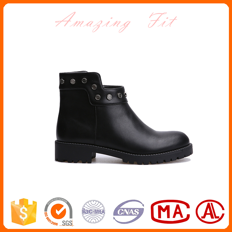 lady flat closed toe chunky ankle boots buckle short low heel casual shoes for women