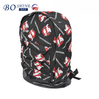 cool canvas fashion school black backpack for teenager with a printed design manufacturer china