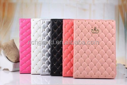 Diamond bling crown wallet flip case for ipad mini ipad 2 3 4 ipad air